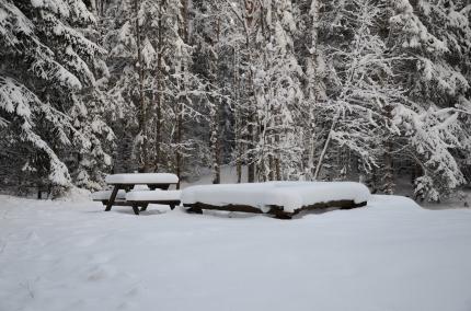 Rastplats i snö