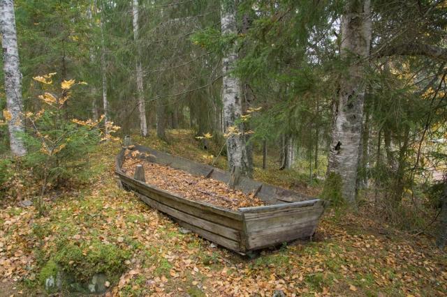 Lövfylld båt