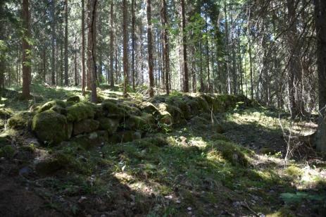 En mur mitt i skogen
