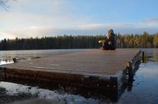 Solens sista strålar på bryggan