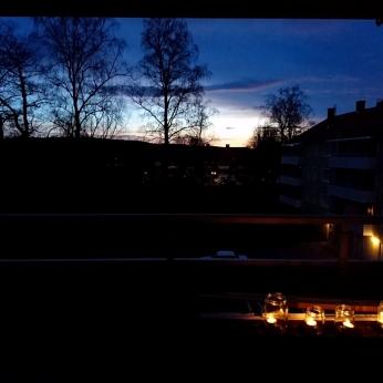 Värmeljus på balkongen